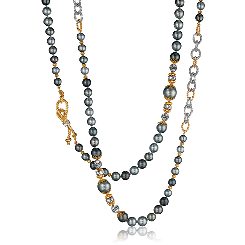 Verdura-Byzantine-Pearl-Necklace-Black-Pearl-Rope-Knot-Clasp