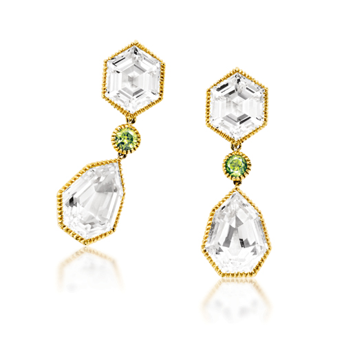 Verdura-Byzantine-Pendant-Earclips-White-Topaz-Peridot-Gold