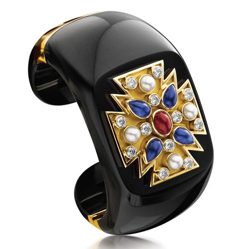Verdura-Maltese-Cross-Cuff-Black-Jade-Ruby-Sapphire