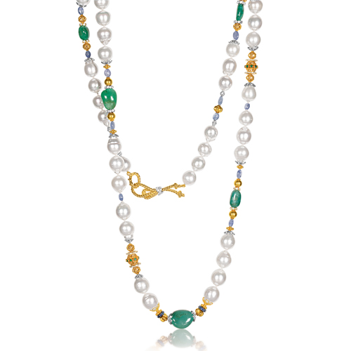 Verdura-Jewelry-Byzantine-Pearl-Necklace-Emerald-Sapphire-Gold