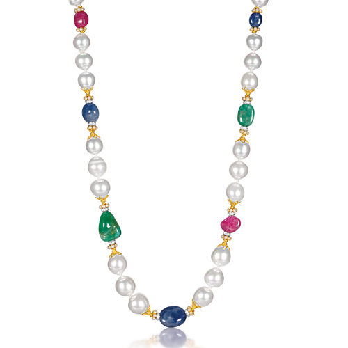 Verdura-Jewelry-Byzantine-Pearl-Necklace-Sapphire-Emerald-Ruby-Gold