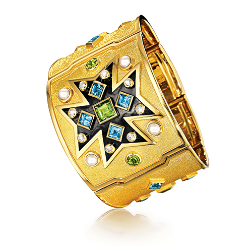 maltese cross cuff peridot blue topaz