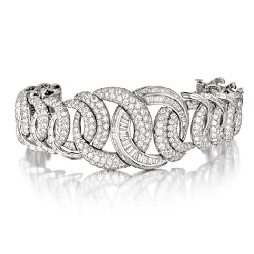 double crescent diamond and platinum