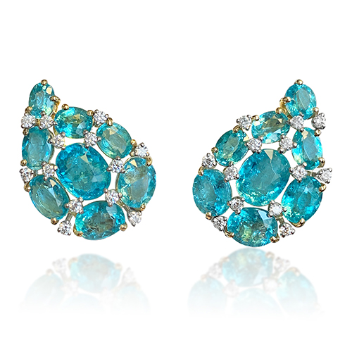 paisley earclips in apatite