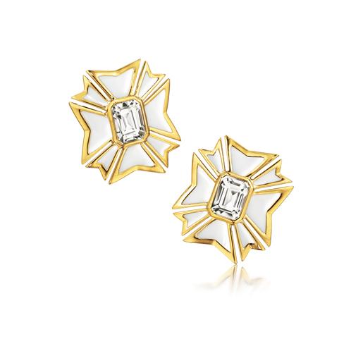 Verdura-Jewelry-Maltese-Cross-Earclips-Gold-White-Topaz-Enamel