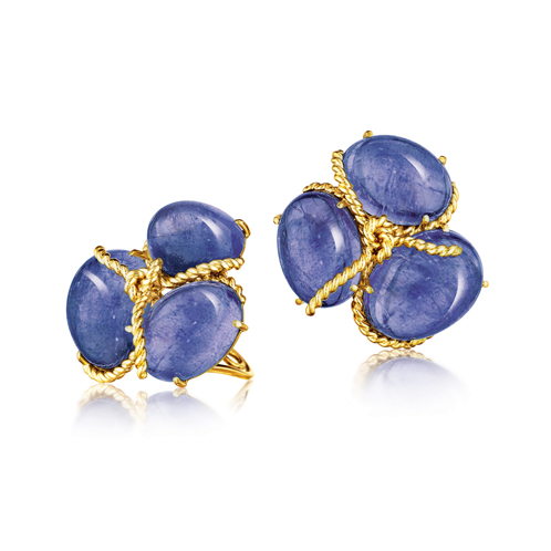 Verdura-Jewelry-Rope-Cluster-Earclips-Tanzanite-Gold