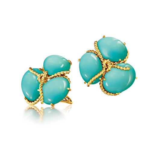 Verdura-Jewelry-Rope-Cluster-Earclips-Turquoise-Gold