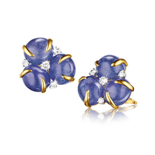 Verdura-Jewelry-Tendril-Earclips-Tanzanite
