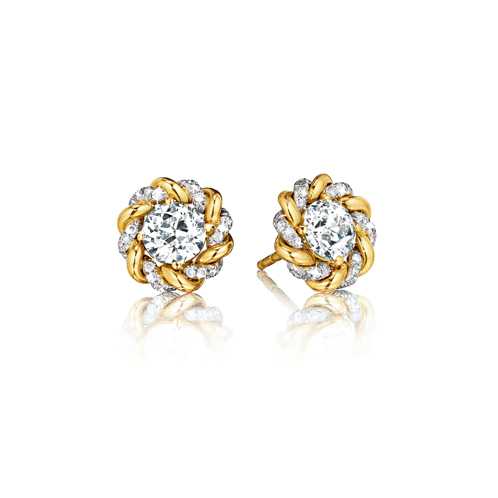 erdura-Diamond-and-Gold Solitaire Earstuds