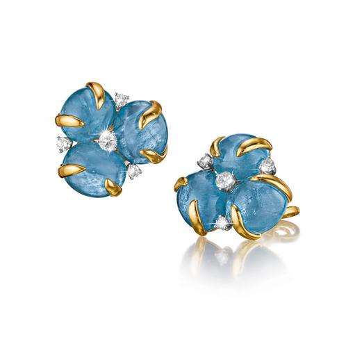 Verdura-Jewelry-Tendril-Cluster-Earclips-Aquamarine